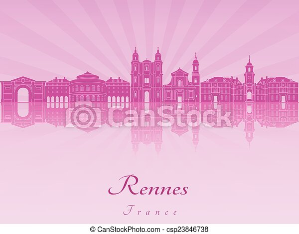 Rennes skyline in purple radiant orchid - csp23846738