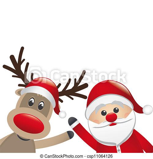 El reno y Santa Claus - csp11064126