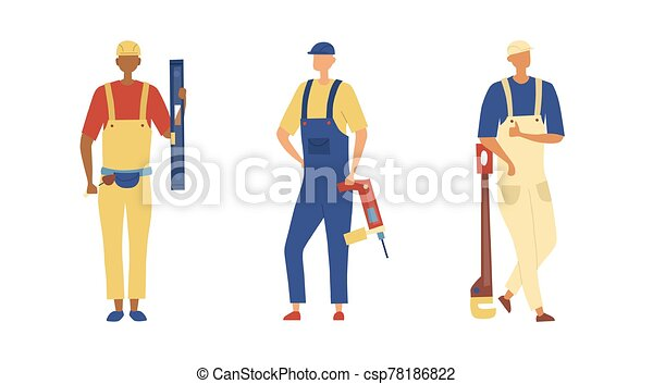 Renovation And Construction Concept Group Of Construction Engineers And Builders In Robe With Building Equipment Tools