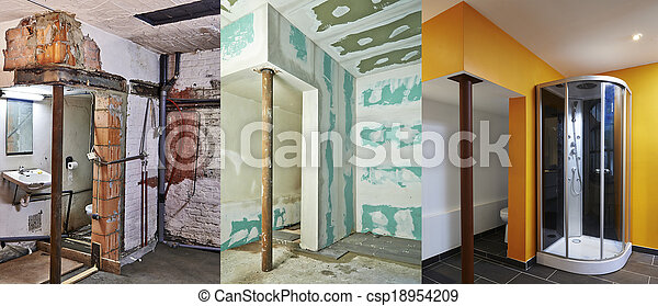 renovation and construction of Drywall-Plasterboard in a bathroom - csp18954209