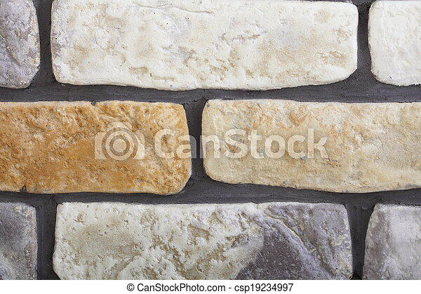 Renovation at home wall clinker tile as background - csp19234997