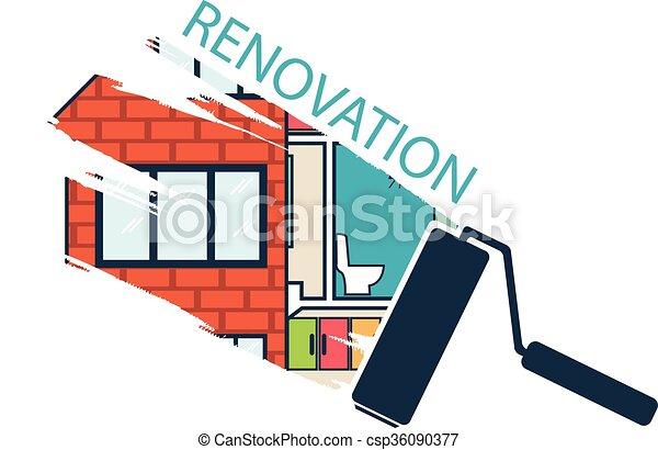 Renovation .House remodeling, flat design .Vector - csp36090377