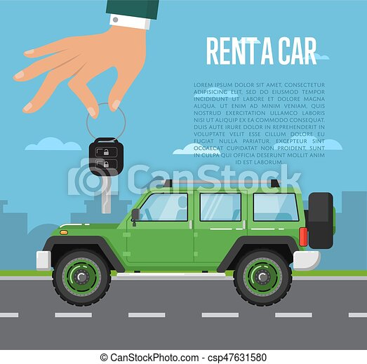 Rent a car concept with hand holding auto key - csp47631580