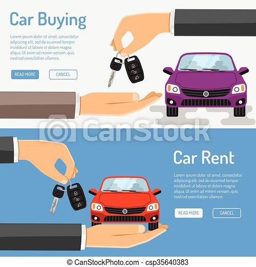 Rent amd Buying Car Banner - csp35640383