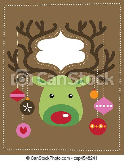 rentier, weihnachtskarte - csp4548241