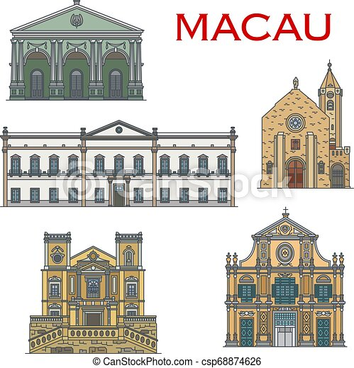 repère, portugais, architecture, macau, bâtiments - csp68874626