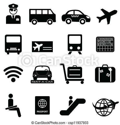 repülőtér, levegő utazás, ikonok - csp11937933