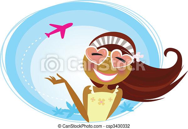 repülőtér, szünidő, leány, utazó - csp3430332