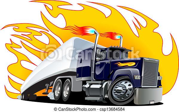 repaint, semi, one-click, vettore, truck., cartone animato - csp13684584