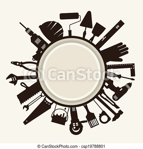 Repair and construction illustration with working tools icons. - csp19788801