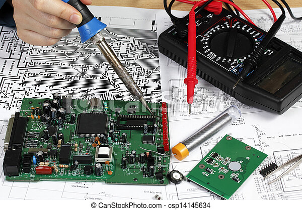 repair and diagnostic of electronic circuit board rh canstockphoto com how to easily repair intermittent problems in electronic circuits how to repair electronic circuits pdf
