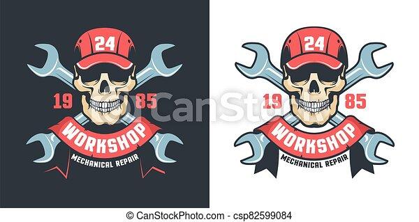Repair car service vintage emblem - skull and adjustable wrench - csp82599084