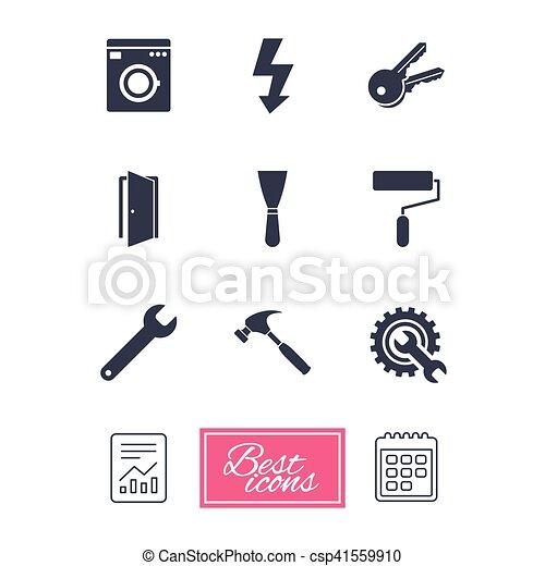 Repair, construction icons. Electricity, keys. - csp41559910
