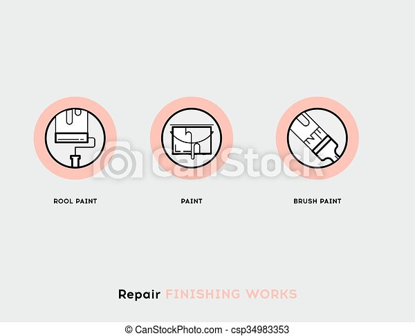 Repair Finishing Works. Flat Illustration Set of Line Modern Icons - csp34983353