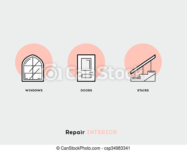 Repair Interior. Flat Illustration Set of Line Modern Icons - csp34983341