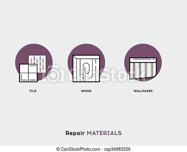 Repair Materials. Flat Illustration Set of Line Modern Icons - csp34983339