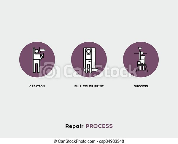 Repair Process. Flat Illustration Set of Line Modern Icons - csp34983348