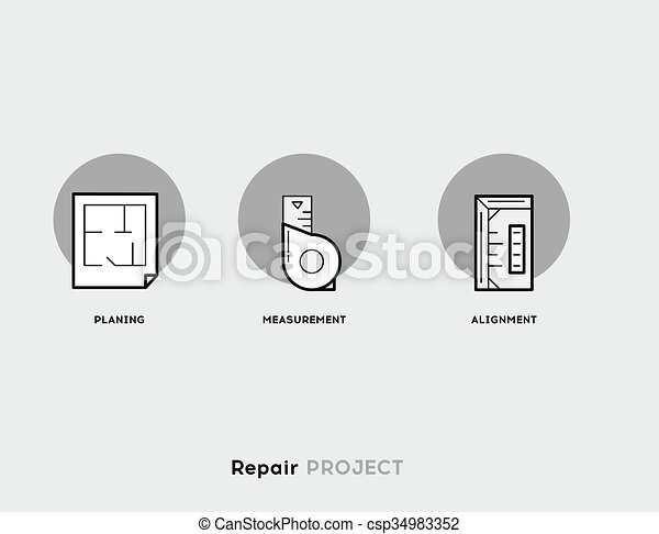Repair Project. Flat Illustration Set of Line Modern Icons. - csp34983352