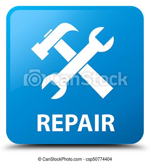 Repair (tools icon) cyan blue square button - csp50774404