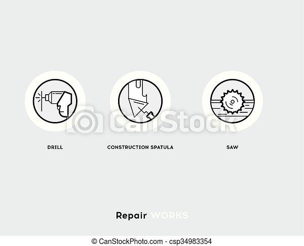 Repair Works. Flat Illustration Set of Line Modern Icons - csp34983354