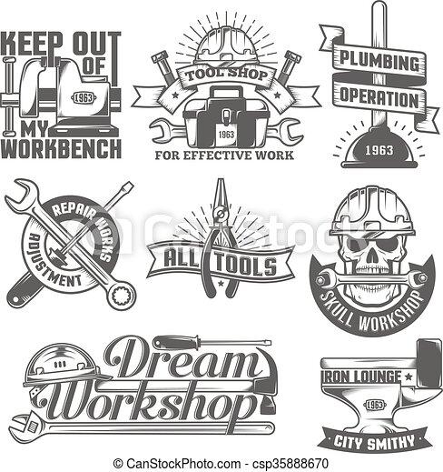 repair workshop logos - csp35888670