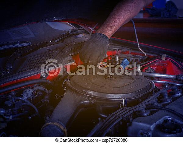 repairing an old car. - csp72720386