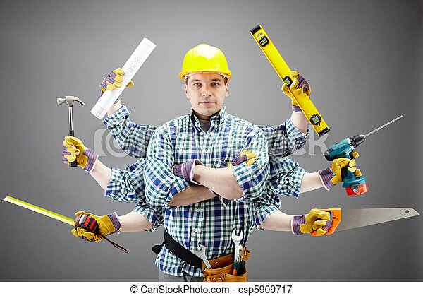 Repairman Portrait Of Serious Craftsman With Different