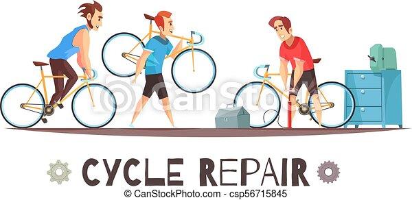 Reparación de bicicletas composición de dibujos animados - csp56715845