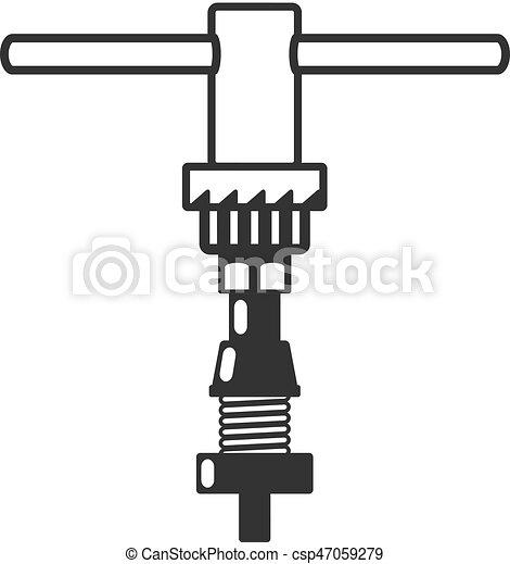 Icones BW - herramienta de reparación de bicicletas - csp47059279