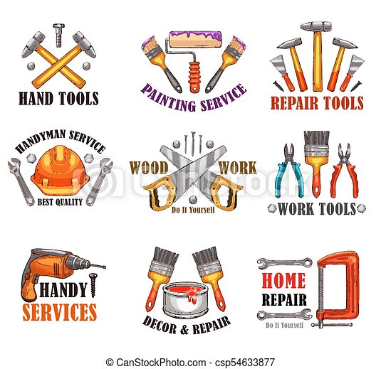 Reparar el boceto de herramientas para el diseño de construcción en casa - csp54633877