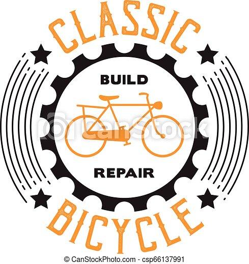 Cita de bicicleta y dice. Clásico de reparación de bicicletas, bueno para imprimir - csp66137991