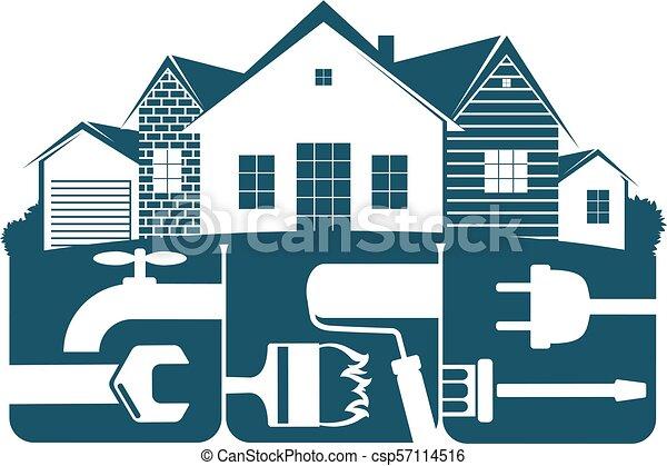 El símbolo de reparación de la vivienda para los negocios - csp57114516