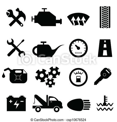 Mantenimiento de autos y iconos de reparación - csp10676524