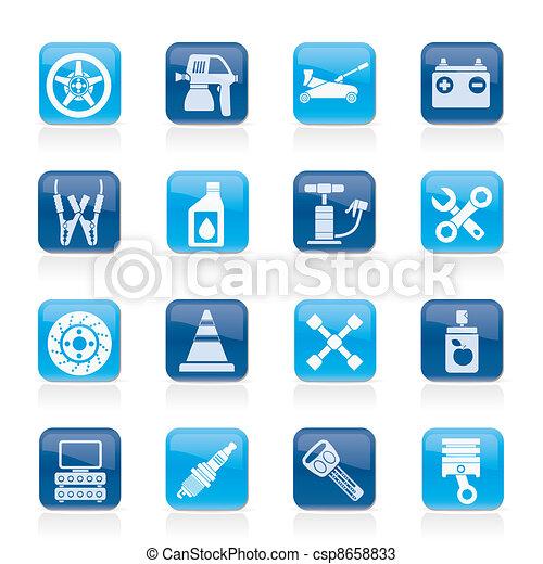 Los iconos de transporte y reparación de autos - csp8658833