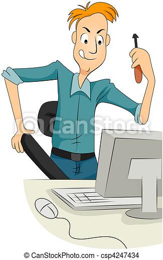 Hombre reparando computadora - csp4247434