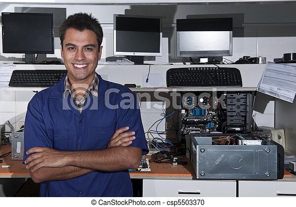 reparación, empresa / negocio, pequeño, computadora, dueño, tienda - csp5503370