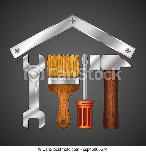 Reparación casera con herramienta de diseño para los negocios - csp46065574