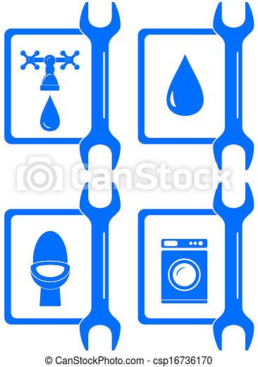 Iconos para reparaciones de fontanería - csp16736170