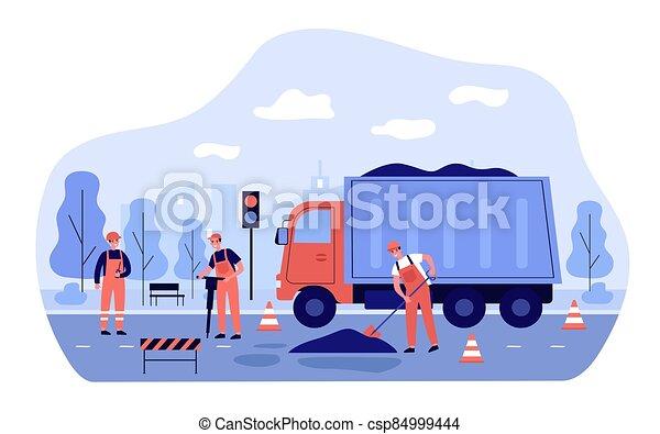 reparación, trabajadores, camino - csp84999444