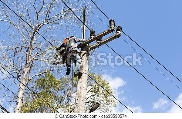 Trabajo de liniero electricista