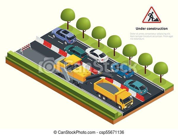 Tráfico isométrico en la carretera, concepto de reparación de carretera. Una fría máquina molinera eliminando la capa de asfalto en una carretera. - csp55671136