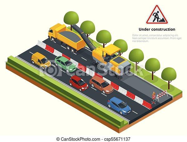Tráfico isométrico en la carretera, concepto de reparación de carretera. Una fría máquina molinera eliminando la capa de asfalto en una carretera. - csp55671137