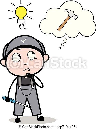 Tengo una idea para trabajar con herramientas de martillo, ilustración de vectores de vectores de reparadores retroman - csp71011984