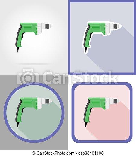 reparar, apartamento, elétrico, ícones, ilustração, vetorial, broca, construção, ferramentas - csp38401198