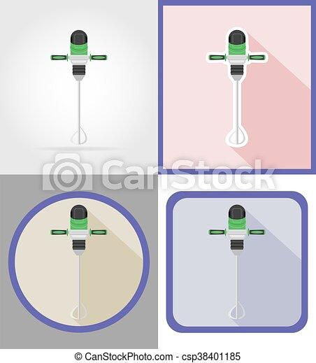 reparar, apartamento, elétrico, ícones, ilustração, vetorial, broca, construção, ferramentas - csp38401185