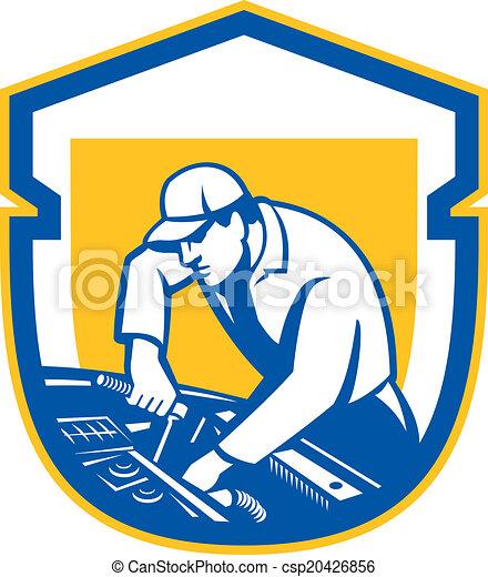 reparar, escudo, automóvel, retro, mecânico, automático, car - csp20426856