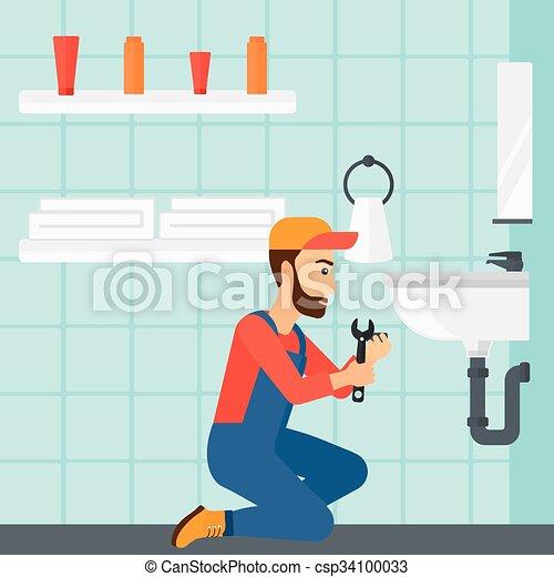 reparar, sink., mulher - csp34100033