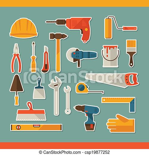 reparar, trabalhando, adesivo, construção, ferramentas, set., ícone - csp19877252