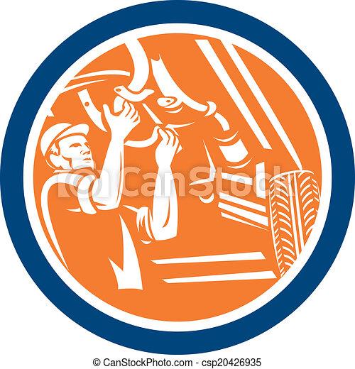 reparatur, auto, auto, retro, mechaniker, auto, kreis - csp20426935