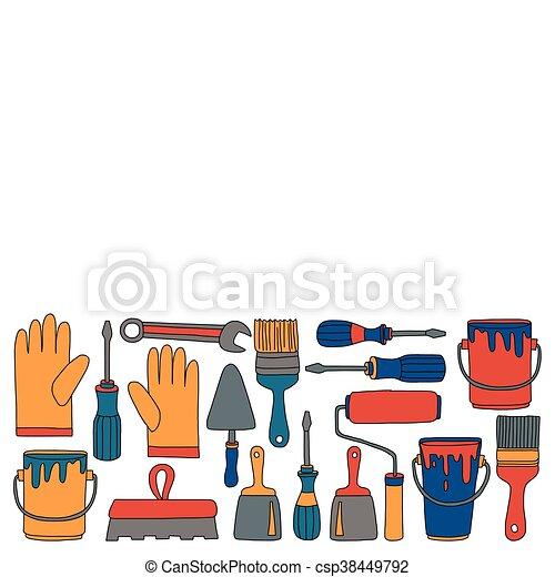 Reparatur, Heiligenbilder, Hand, Vektor, Gezeichnet, Werkzeuge, Renovierung    Csp38449792